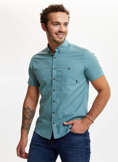 DeFacto Tek Cepli Slim Fit Gömlek Yeşil